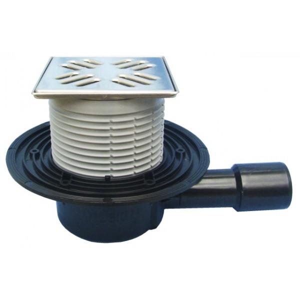 Horizontalus vonios trapas su nerūdijančio plieno grotelėmis HL 510N Pr, 115x115 mm, 30 l/min, su sifonu Primus, DN 40/50