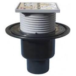 Vertikalus vonios trapas su nerūdijančio plieno grotelėmis HL 310N, 115x115mm, 40 l/min, su sifonu DN 50/75/110