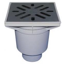 Vertikalus lauko trapas, su uždoriu ir ketaus grotelėmis HL 606, su plastikiniu rėmeliu, maksimali apkrova 1,5t, 226x226mm, 500 l/min DN 110