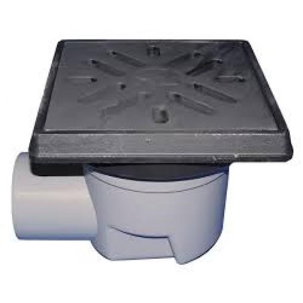 Horizontalus lauko trapas, su uždoriu ir ketaus grotelėmis HL 605.1, su plastikiniu rėmeliu, maksimali apkrova 1,5 t, 226x226 mm, 250 l/min, DN 110