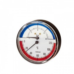 Aksialinis termo-manometras su atbuliniu vožtuvu 0-4 bar, 0-120°C